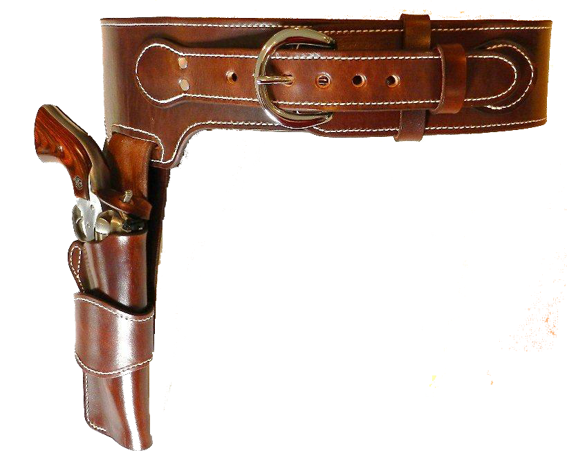Ranger Drop Loop Cartridge Belt With Ranger Style Holster, Plain (no tooling) Image