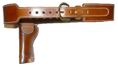 Tapered Cartridge Gun Belt With Ranger Style Holster & Tie-Down Plain (no tooling) Image