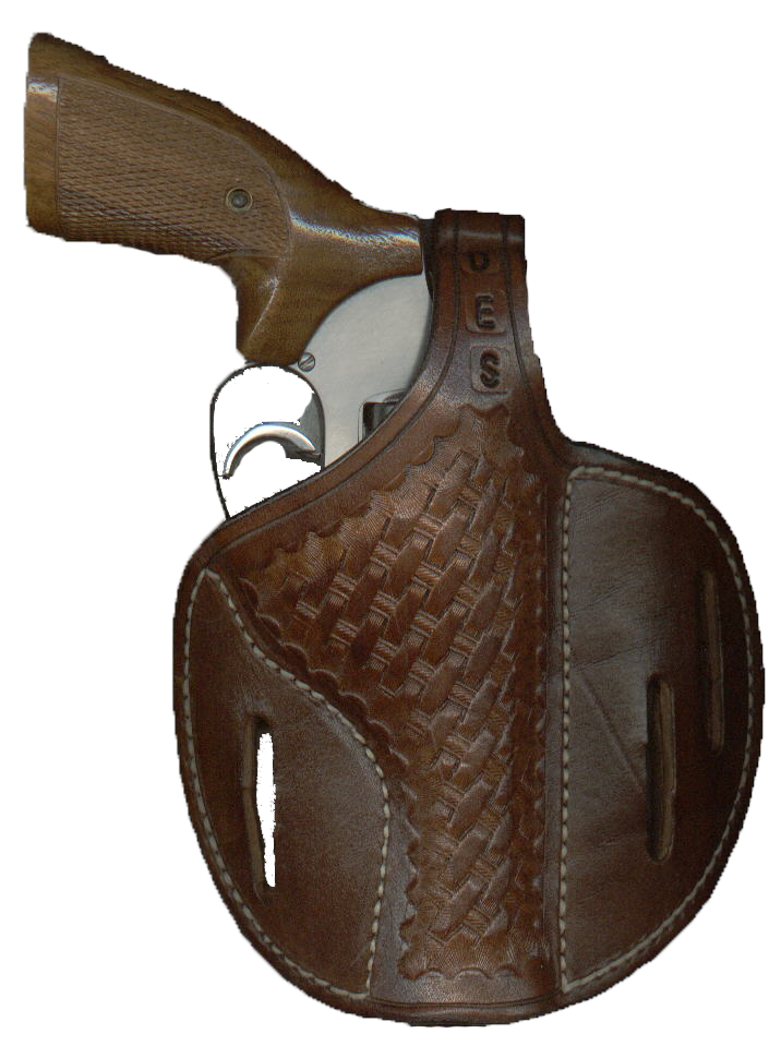 Pancake Holster, Basketweave, Medium Brown, With Initials Image